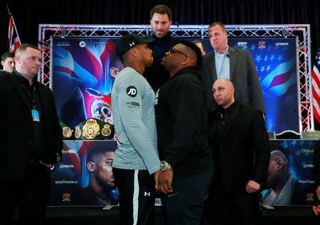 Boxing - Anthony Joshua & Jarrell Miller Press Conference - Hilton London Syon Park, London, Britain - February 25, 2019 Anthony Joshua and Jarrell Miller go head to head during the press conference Action Images via Reuters/Andrew Couldridge