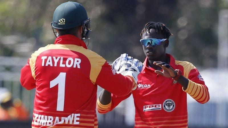 Brandon Mavuta celebrates his first ODI wicket for Zimbabwe