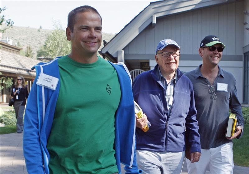 File photo of News Corp CEO Rupert Murdoch sons Lachlan and James attend the Allen & Co Media Conference in Sun Valley Idaho