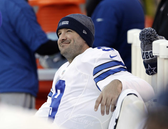 Tony Romo isn't feeling the Cowboys as major threats to make it to the Super Bowl. (AP Photo/Matt Rourke)