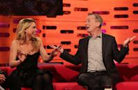 Guests Billie Piper and Frank Skinner during filming of The Graham Norton Show at The London Studios in south London. (Photo by Yui Mok/PA Images via Getty Images)