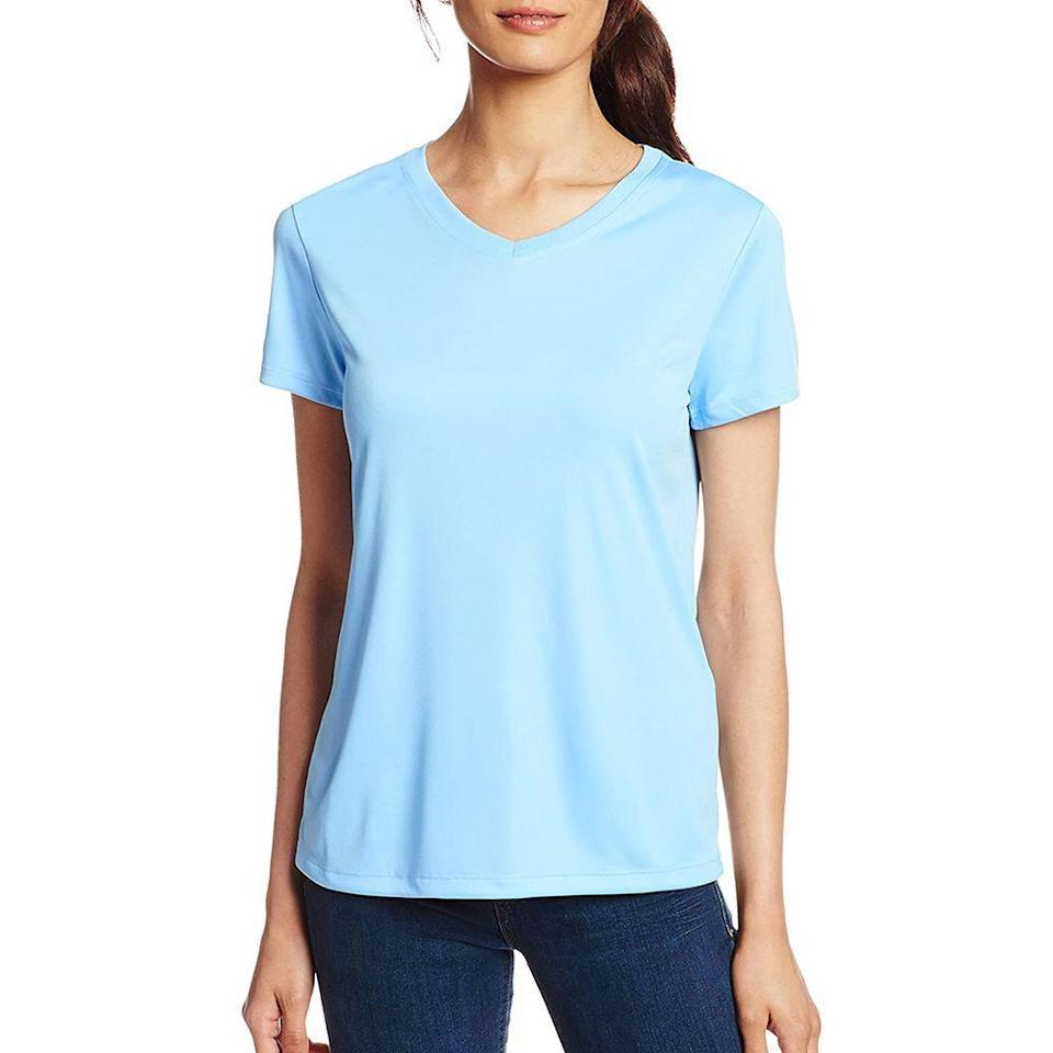 """<p><strong>Hanes</strong></p><p>amazon.com</p><p><strong>$7.00</strong></p><p><a href=""""https://www.amazon.com/dp/B00KRYOT7E?tag=syn-yahoo-20&ascsubtag=%5Bartid%7C2141.g.32869392%5Bsrc%7Cyahoo-us"""" rel=""""nofollow noopener"""" target=""""_blank"""" data-ylk=""""slk:Shop Now"""" class=""""link rapid-noclick-resp"""">Shop Now</a></p><p>We love a good cotton tee, but it won't provide nearly as much <a href=""""https://www.ncbi.nlm.nih.gov/pmc/articles/PMC59842/#:~:text=Polyester%20and%20wool%20fabrics%20usually,frequently%20offer%20poor%20UV%20protection."""" rel=""""nofollow noopener"""" target=""""_blank"""" data-ylk=""""slk:sun protection"""" class=""""link rapid-noclick-resp"""">sun protection</a> as this V-neck from Hanes. Made with a 50+ UPF rating polyester material, this wards off harmful rays while wicking away sweat for comfort and security. It also comes in several colors including white, pink, and navy. If you're spending an excessive amount of time in direct sunlight, opt for a <a href=""""https://healthcare.utah.edu/huntsmancancerinstitute/news/2017/what-clothing-is-best-for-protecting-the-skin.php"""" rel=""""nofollow noopener"""" target=""""_blank"""" data-ylk=""""slk:darker color"""" class=""""link rapid-noclick-resp"""">darker color</a>. It absorbs more UV rays than lighter colors. </p>"""