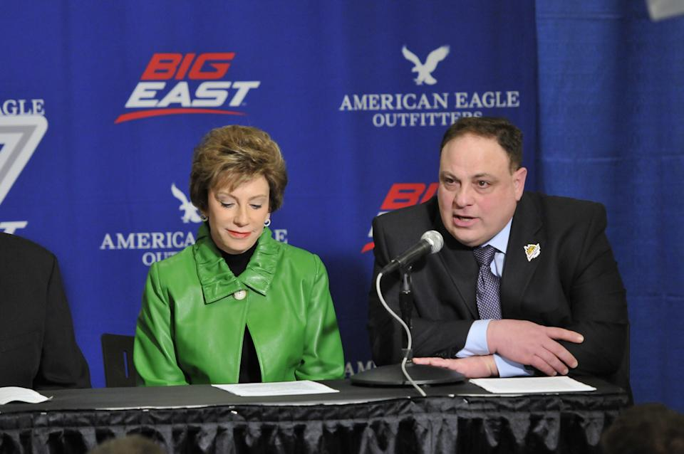 Former Big East commissioner John Marinatto, right, died Saturday at the age of 64. (Photo by Tom Maguire/BIG EAST Conference/Collegiate Images via Getty Images)