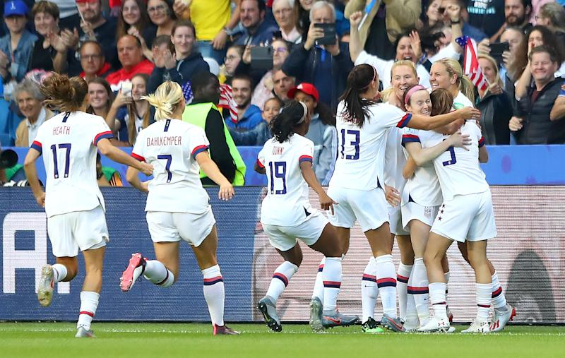 LE HAVRE, FRANCE - JUNE 20: Lindsey Horan of the USA celebrates with teammates after scoring her team's first goal during the 2019 FIFA Women's World Cup France group F match between Sweden and USA at Stade Oceane on June 20, 2019 in Le Havre, France. (Photo by Martin Rose/Getty Images)