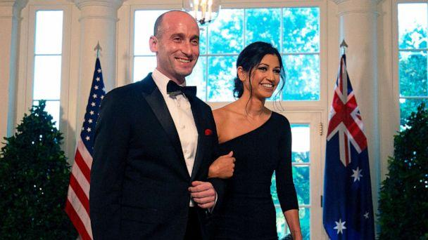PHOTO: White House Senior Advisor Stephen Miller and Katie Waldman arrive in the Booksellers area of the White House to attend an Official Visit with a State Dinner honoring Australian Prime Minister Scott Morrison, in Washington, Sept. 20, 2019. (Alastair Pike/AFP via Getty Images, File)