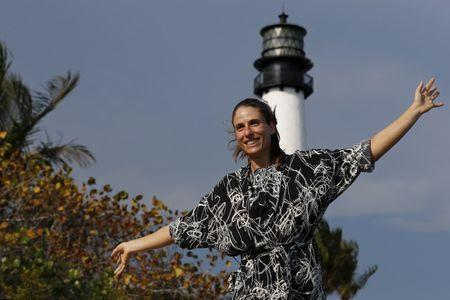 Apr 1, 2017; Key Biscayne, FL, USA; Johanna Konta of Great Britain poses for a Champion's portrait at Fort Florida Lighthouse after her match against Caroline Wozniacki of Denmark (not pictured) in the women's singles championship of the 2017 Miami Open at Crandon Park Tennis Center. Konta won 6-4, 6-3. Mandatory Credit: Geoff Burke-USA TODAY Sports