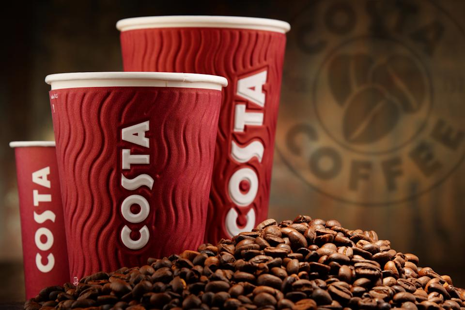 Poznan, Poland - April 22, 2016: Costa Coffee is a British multinational coffeehouse company headquartered in Dunstable, Bedfordshire; second largest coffeehouse chain in the world.