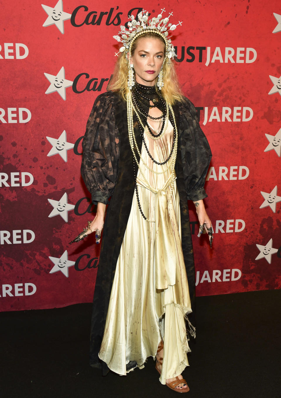 <p>Jaime King's Halloween outfit put our cat ears to shame, as she arrived in an ethereal ensemble to Just Jared's 7th annual Halloween party. <em>[Photo: Getty]</em> </p>