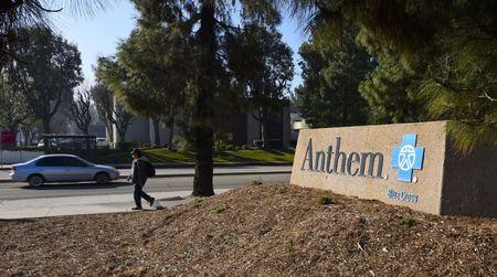 A sign at the office building of health insurer Anthem is seen in Los Angeles, California