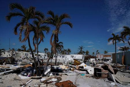FILE PHOTO: A damaged home is pictured after Hurricane Irma in Cudjoe Key, Florida, U.S., September 17, 2017. REUTERS/Carlo Allegri/File Photo