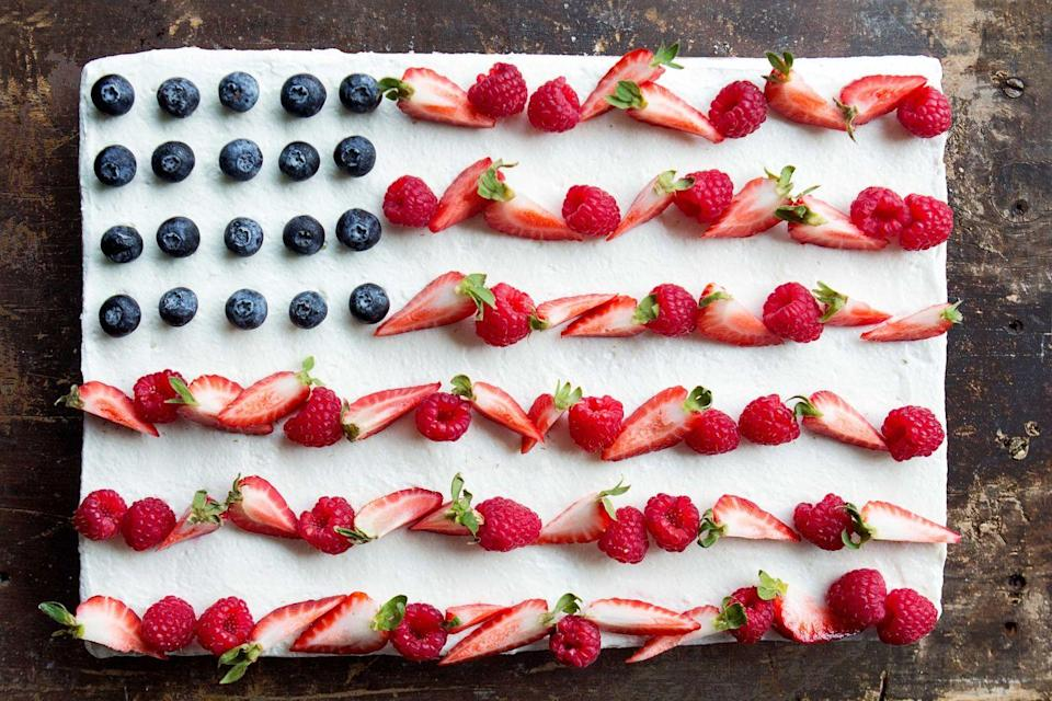 """<p>Old Glory has never looked better.</p><p>Get the recipe from <a href=""""https://www.delish.com/cooking/recipe-ideas/recipes/a42975/flag-cake/"""" rel=""""nofollow noopener"""" target=""""_blank"""" data-ylk=""""slk:Delish"""" class=""""link rapid-noclick-resp"""">Delish</a>.</p>"""