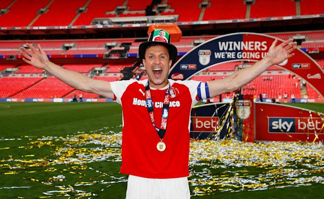 "Soccer Football - League One Play-Off Final - Rotherham United v Shrewsbury Town - Wembley Stadium, London, Britain - May 27, 2018 Rotherham's Richard Wood celebrates winning the League One Play-Off Final Action Images/Jason Cairnduff EDITORIAL USE ONLY. No use with unauthorized audio, video, data, fixture lists, club/league logos or ""live"" services. Online in-match use limited to 75 images, no video emulation. No use in betting, games or single club/league/player publications. Please contact your account representative for further details."