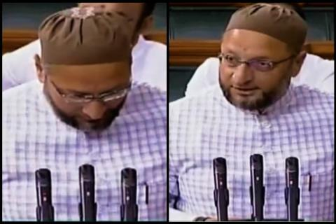 The slogans began as Owaisi approached the designated area in the well of the House to take oath.