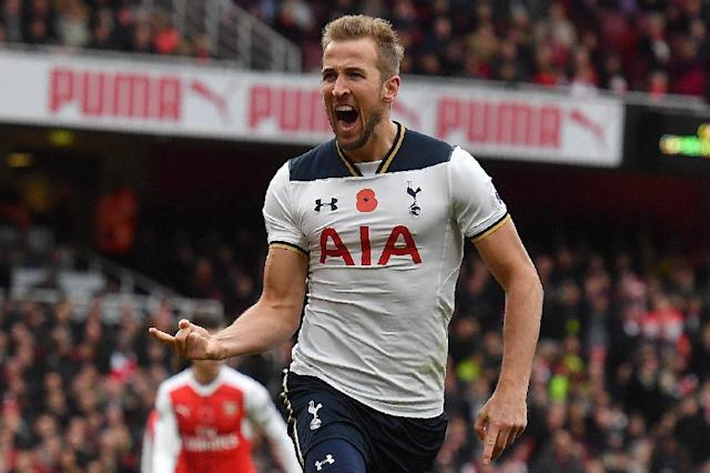 Tottenham Hotspur's Harry Kane celebrates scoring his team's first goal from the penalty spot against Arsenal in what ended a 1-1 draw at the Emirates in London on November 6, 2016 (AFP Photo/Ben Stansall)