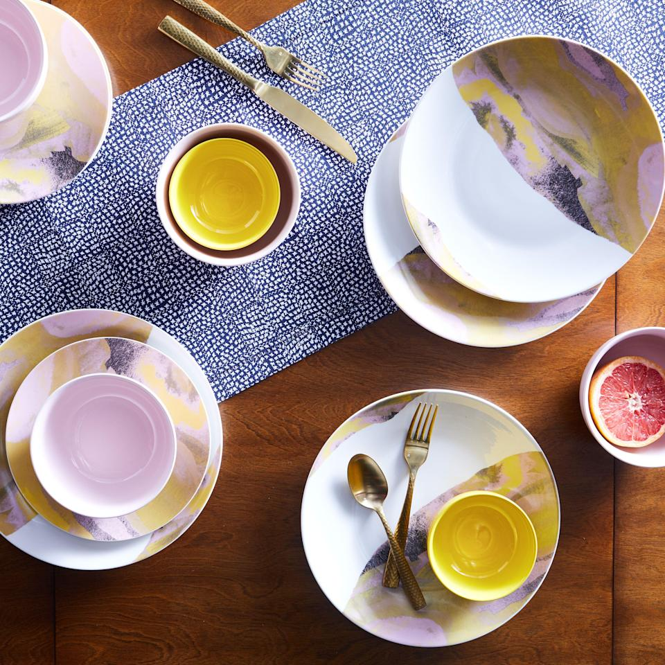 "<h3>Marble Glazed 16-Piece Dinnerware Set</h3><p>Impress guests by serving your summer spreads from this chic stoneware set — each piece is coated with a solid glaze in luminous pinks and yellows with a vintage marbled pattern.</p><br><br><strong>Drew Barrymore Flower Home</strong> Vintage Marble 16 Piece Dinnerware Set, $60, available at <a href=""https://www.walmart.com/ip/Vintage-Marble-16-Piece-Dinnerware-Set-Jamaican-Yellow-by-Drew-Barrymore-Flower-Home/854597712"" rel=""nofollow noopener"" target=""_blank"" data-ylk=""slk:Walmart"" class=""link rapid-noclick-resp"">Walmart</a>"