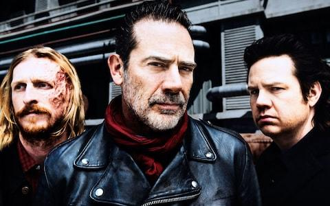 Austin Amelio, Jeffrey Dean Morgan and Josh McDermitt in The Walking Dead - Credit: AMC