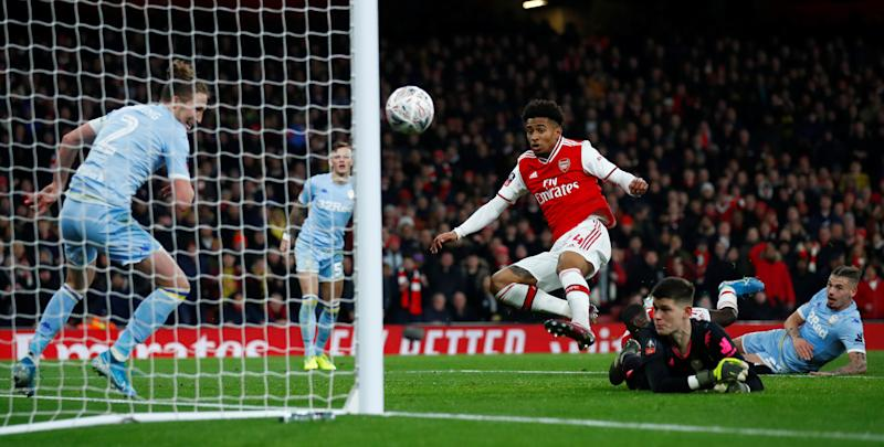Soccer Football - FA Cup - Third Round - Arsenal v Leeds United - Emirates Stadium, London, Britain - January 6, 2020 Arsenal's Reiss Nelson scores their first goal REUTERS/Eddie Keogh