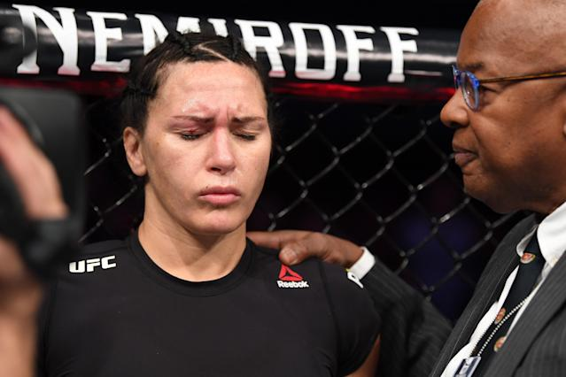 Cat Zingano lost her fight with Megan Anderson when Anderson's toe poked Zingano in the eye during a first round high kick. (Josh Hedges/Zuffa LLC/Zuffa LLC via Getty Images)