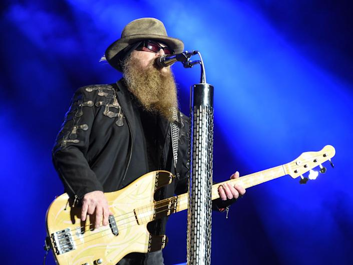 Dusty Hill of ZZ Top performs during the Eurockeennes rock music festival on 3 July 2016 in Belfort, France (SEBASTIEN BOZON/AFP via Getty Images)