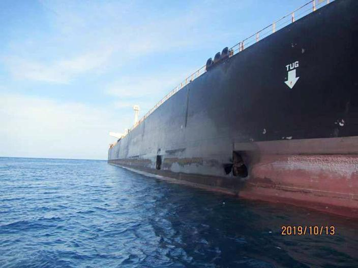A damage is seen on Iranian-owned Sabiti oil tanker sailing in the Red Sea, October 13, 2019. Picture taken October 13, 2019. National Iranian Oil Tanker Company via WANA (West Asia News Agency) via REUTERS.