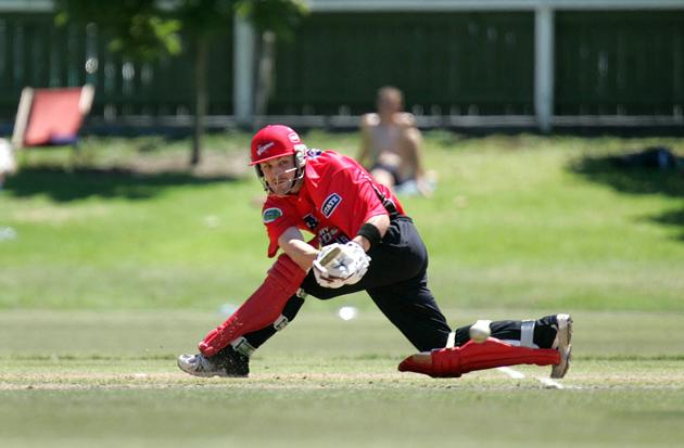 AUCKLAND, NEW ZEALAND - FEBRUARY 09: Brendan McCullum of Canterbury sweeps the ball during their Semi Final State Shield Cricket game against Northern Districts at Eden Park in Auckland, Wednesday, 09 February, 2005. Canterbury finished their innings on 251/8. (Photo by Sandra Mu/Getty Images)