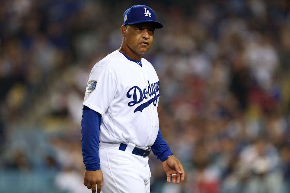 LOS ANGELES, CA - OCTOBER 27:  Manager Dave Roberts #51 of the Los Angeles Dodgers looks on in the ninth inning during Game 4 of the 2018 World Series against the Boston Red Sox at Dodger Stadium on Saturday, October 27, 2018 in Los Angeles, California. (Photo by Rob Leiter/MLB via Getty Images)