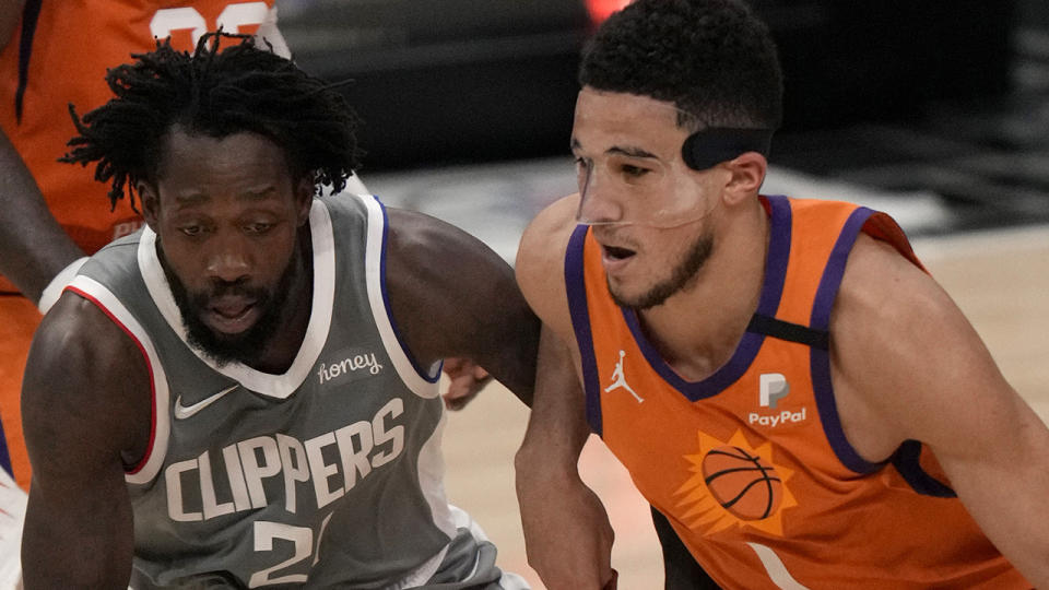 Devin Booker guided the Phoenix Suns to a 84-80 road win over the LA Clippers to put them on the cusp of making the NBA Finals. (Photo by Keith Birmingham/MediaNews Group/Pasadena Star-News via Getty Images)