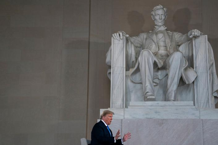 President Donald Trump speaks during a Fox News virtual town hall at the Lincoln Memorial on May 3. (Photo: ASSOCIATED PRESS)