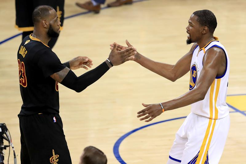 b9205eb3554 NBA Finals 2017  Watch Kevin Durant and LeBron James Embrace After Warriors  Win Championship