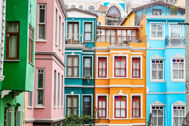 Old houses in the Fener District in Istanbul, Turkey