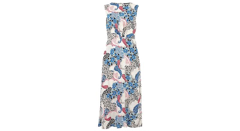 Paisley Open Back Midi Waisted Dress