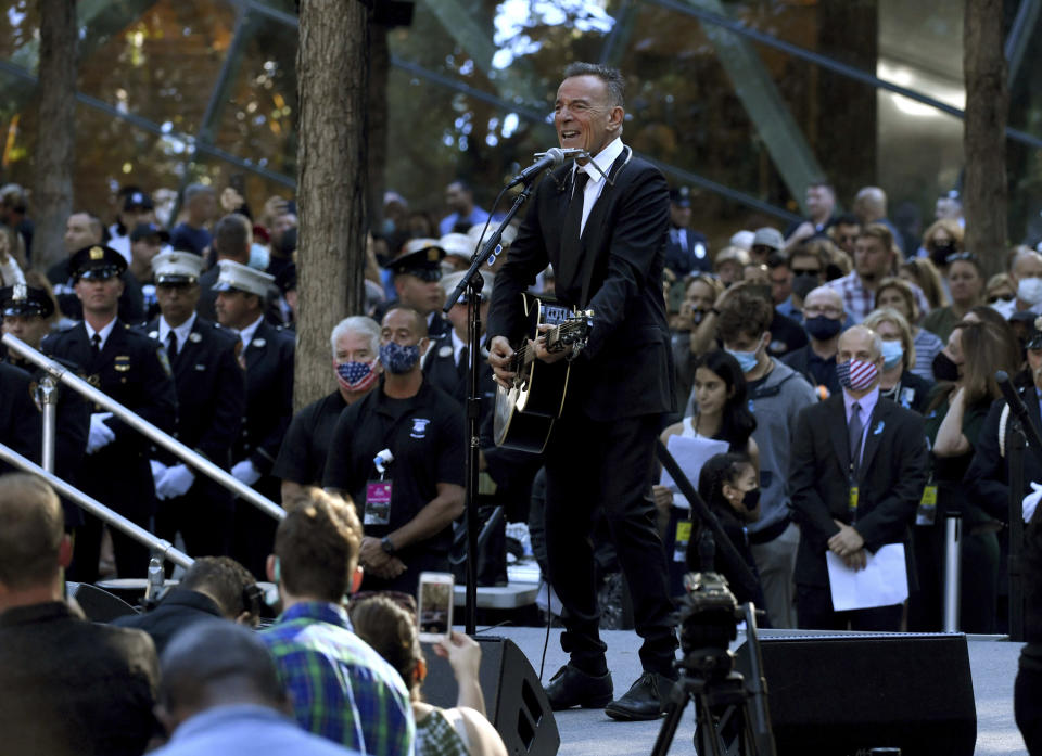 Bruce Springsteen performs during ceremonies to commemorate the 20th anniversary of the Sept. 11 terrorist attacks, Saturday, Sept. 11, 2021, at the National September 11 Memorial & Museum in New York. (Ed Jones/Pool Photo via AP)