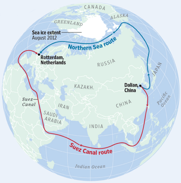 An illustration by the European University at St. Petersburg shows the Northern Sea shipping route, which a Russian tanker traversed for the first time ever in the winter in February 2021, and the southern Suez Canal route. / Credit: European University at St. Petersburg
