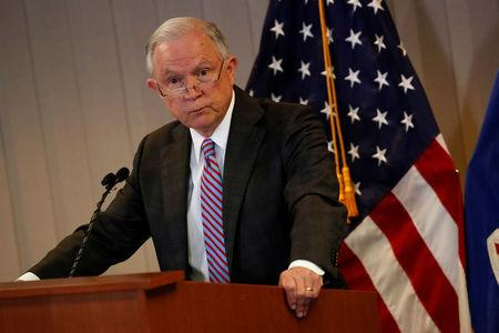 FILE PHOTO - U.S. Attorney General Jeff Sessions delivers remarks on the U.S. system for asylum-seekers at the Executive Office for Immigration Review in Falls Church, Virginia, U.S. October 12, 2017.  REUTERS/Jonathan Ernst