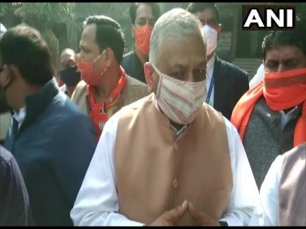 Minister of State for Road Transport and Highways, VK singh speaking to media in Hapur on Tuesday. (Photo/ANI)