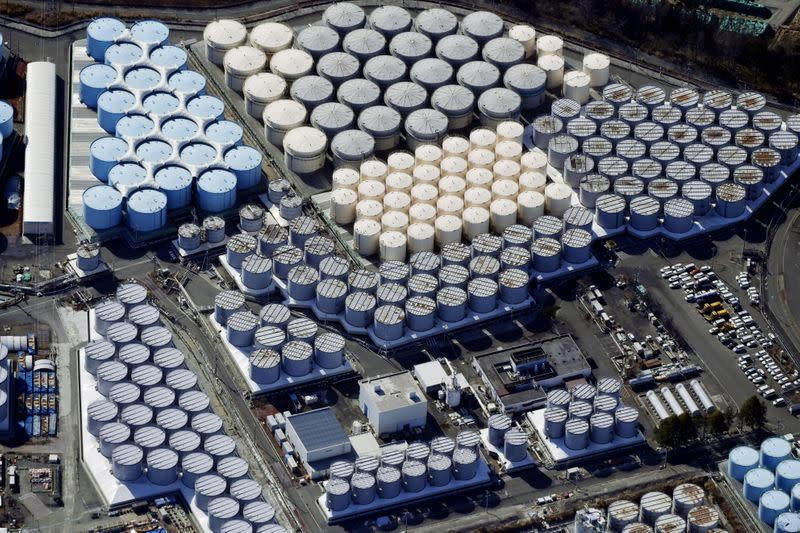 An aerial view shows the storage tanks for treated water at the tsunami-crippled Fukushima Daiichi nuclear power plant in Okuma town, Fukushima prefecture