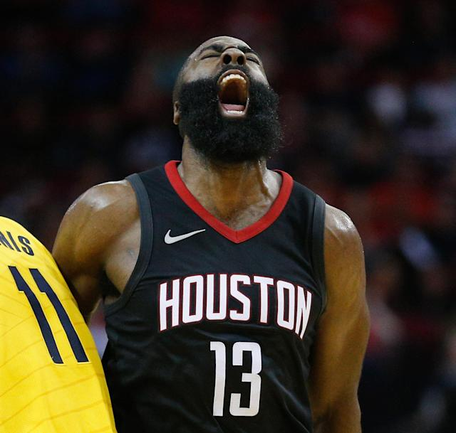 James Harden's having another monstrous season, leading the Rockets to the NBA's best record at the quarter-pole. (Getty)