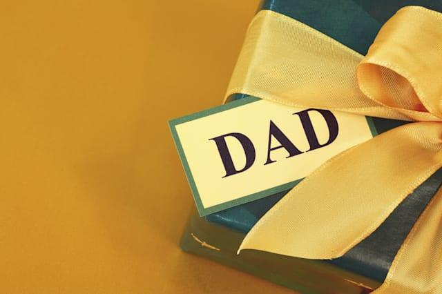 Gift for Dad for Father's Day or birthday on gold paper background.Click below for more pretty gifts.