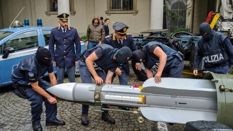 An air-to-air missile once of the Qatari army was seized during a police raid it Italy (AFP Photo/HO)