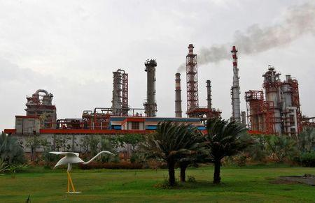 An oil refinery of Essar Oil, which runs India's second biggest private sector refinery, is pictured in Vadinar