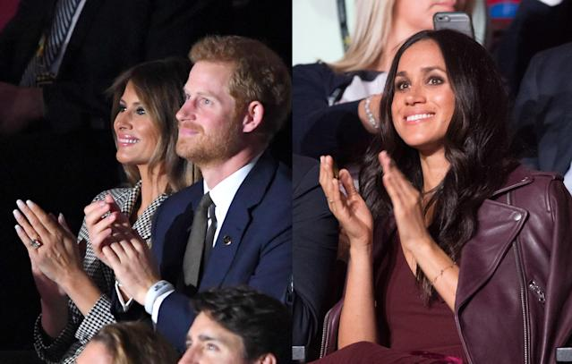 <p>Both Prince Harry and Meghan Markle were in attendance at the opening ceremony of the 2017 Invictus Games. But royal fans were disappointed to see the couple sitting apart. Protocol dictated that as an unofficial member of the royal family, Markle couldn't sit in the VIP section with Harry and was left to sit next to First Lady Melania Trump instead. (Photo: Getty Images) </p>