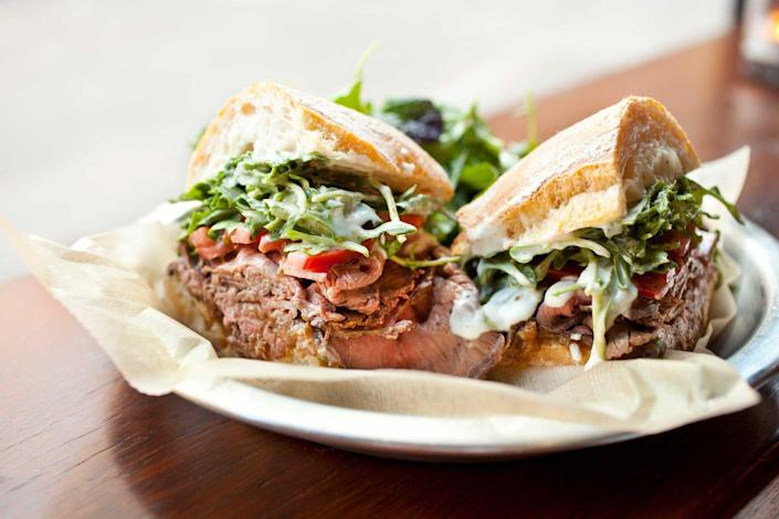 """<p><strong>Roast Beef Sandwich</strong></p><p>New Hampshire is home to some of the best roast beef. Local delis (try <a href=""""https://bentleysroastbeef.com/"""" rel=""""nofollow noopener"""" target=""""_blank"""" data-ylk=""""slk:Bentley's Roast Beef"""" class=""""link rapid-noclick-resp"""">Bentley's Roast Beef</a>) specialize in not just any generic roast beef, but the rare, thinly sliced meat. It's popular although it's tough competition is pizza and seafood as well. </p>"""