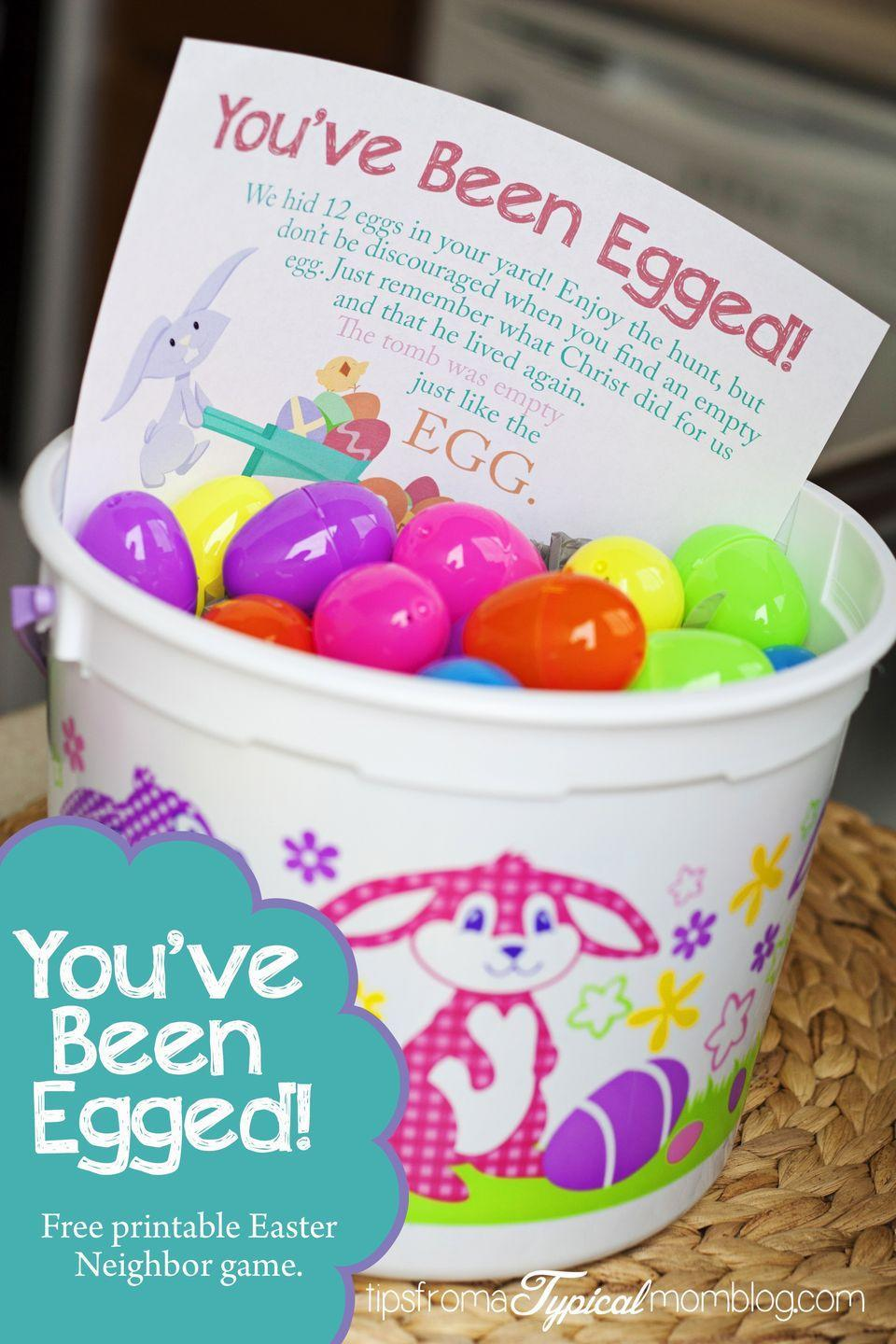 "<p>Use this free printable from blogger Anette to surprise your neighbors with a fun and friendly egg hunt on Easter morning. </p><p><strong>Get the tutorial at <a href=""https://www.tipsfromatypicalmomblog.com/2014/03/youve-egged-free-printable-neighbor-easter-game.html"" rel=""nofollow noopener"" target=""_blank"" data-ylk=""slk:Tips from a Typical Mom"" class=""link rapid-noclick-resp"">Tips from a Typical Mom</a>.</strong></p>"
