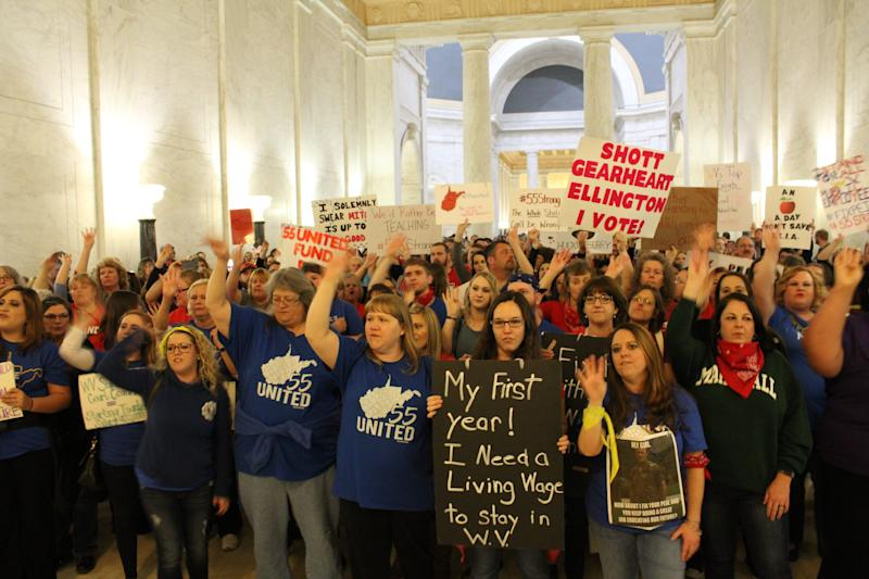 Workers have protested at the state capitol every day the legislature has been in session since the strike began Feb. 22. (Photo: Dave Jamieson/HuffPost)