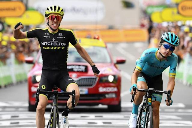 Simon Yates winning his first ever Tour de France stage (AFP Photo/Anne-Christine POUJOULAT )
