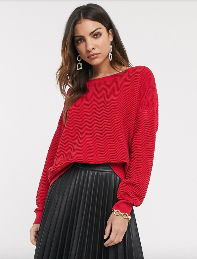 French Connection slash neck cropped jumper