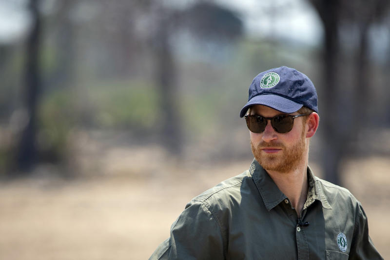 Britain's Prince Harry watches an anti-poaching demonstration exercise conducted jointly by local rangers and UK military deployed on Operation CORDED at the Liwonde National Park on day eight of the royal tour of Africa, in Liwonde, Malawi, Monday, Sept. 30, 2019. (Dominic Lipinski/Pool Photo via AP)