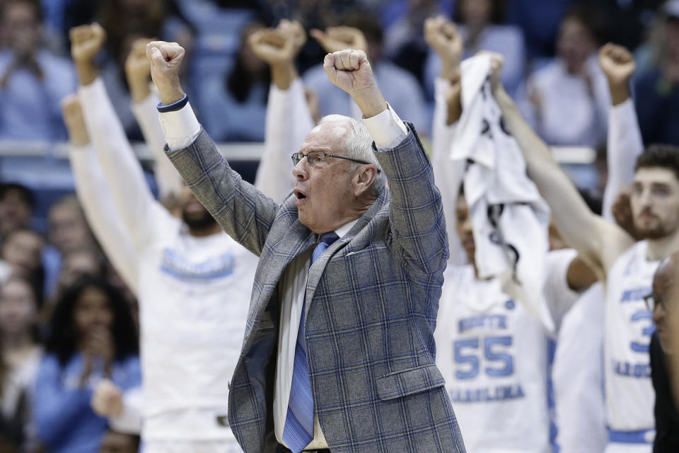 North Carolina head coach Roy Williams reacts during the second half of an NCAA college basketball game against Boston College in Chapel Hill, N.C., Saturday, Feb. 1, 2020. (AP Photo/Gerry Broome)