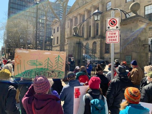 The protests came a day after Liberal MLAs approved major changes advanced by Premier Iain Rankin to his Biodiversity Act. (Michael Gorman/CBC - image credit)