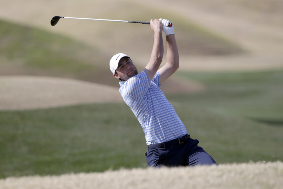 Scott Scheffler hits from the fifth fairway during the final round of The American Express golf tournament on the Stadium Course at PGA West in La Quinta, Calif., Sunday, Jan. 19, 2020. (AP Photo/Alex Gallardo)